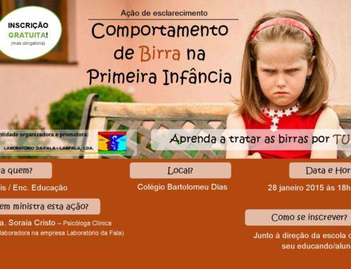 Formação Comportamento de Birra na 1ª Infância (Colégio Bartolomeu Dias)